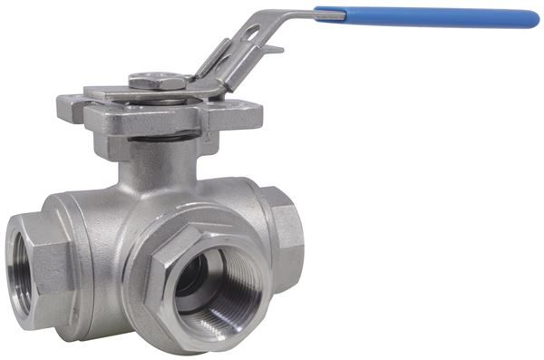 Three Way Reduced Bore L-Port Ball Valve BSPP 1000PSI 316 Stainless Steel