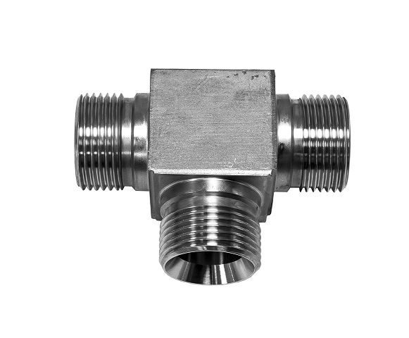 Hydraulic BSPP Cone Seat Male x Male Equal Tee 316 Stainless Steel