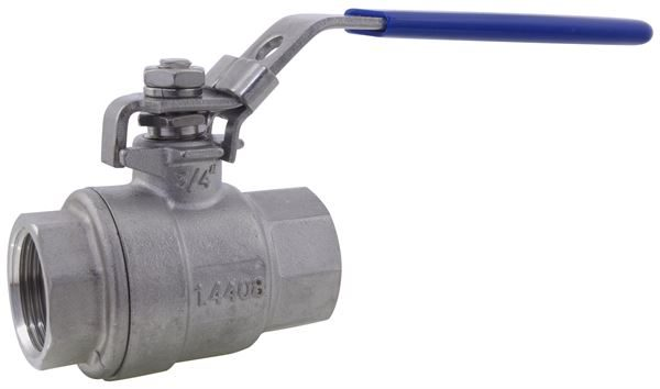 Two Piece Full Bore Ball Valve BSPT 1000PSI 316 Stainless Steel